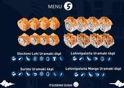Itsudemo Sushi Box, 4*Lohiviipaleita Mango Uramaki, 4*Lohiviipaleita Uramaki, 4* Shichimi Lohi Uramaki, 4*Surimi Uramaki