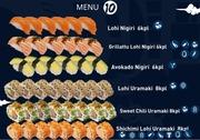 Itsudemo Sushi Box, 6* Lohi Nigiri, 6*Grillattu Lohi Nigiri, 6*Avokado Nigiri, 8*Lohi Uramaki, 8* Sweetchili Uramaki, 8*Shichimi Lohi Uramaki