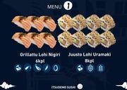 Itsudemo Sushi Box, 6*Grillattu Lohi Nigiri, 8*Juusto Lohi Uramaki