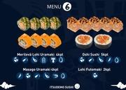 Itsudemo Sushi Box, 2*Lohi Futomaki, 5*Oshi Sushi, 4*Merilevä Lohi Uramaki, 4*Masago Uramaki