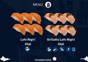 Itsudemo Sushi Box, 6* Lohi Nigiri, 6* Grillattu Lohi Nigiri
