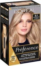 L'oréal Paris Préférence Infinia 8.1 Copenhagen Light Ash Blonde Luonnonvaalea Tuhka Kestoväri 1Kpl
