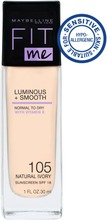Maybelline New York  Fit Me Luminous & Smooth 105 Natural Ivory -Meikkivoide 30Ml