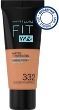 Maybelline New York Fit Me Matte Poreless -Meikkivoide 332 Golden Caramel 30Ml