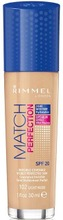 Rimmel 30Ml Match Perfection Foundation Spf 20 102 Light Nude Meikkivoide