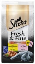 Sheba 6X50g Fresh&Fine Sekoitus Kanaa Ja Lohta Kastikkeessa Msc