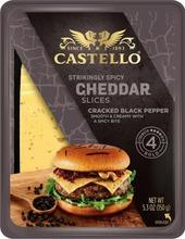 Castello Burger Cheddar Maustettu Juustoviipaleet Mustapippuri 150G