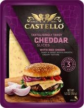 Castello Burger Cheddar Juustoviipaleet, Punasipuli 150 G