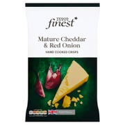Tesco Finest 150G Mature Cheddar & Red Onion Crisps Perunalastut