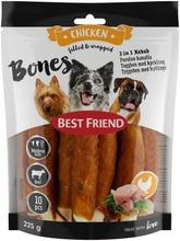 Best Friend Bones 3In1 Kebab Puruluu Naudannahkaa, Kanaa Ja Vihanneksia 12Cm 10Kpl 225G