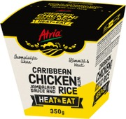 Atria Heat & Eat Caribbean Chicken With Jambalaya Sauce And Rice 350G