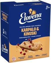 Elovena 10X30g Karpalo-Kinuski Välipalakeksi 100% Kauraa