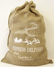 Lahjasäkki 65X95cm Juutti Santa's Express Delivery