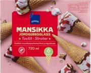 Rainbow Mansikan- Vaniljanmakuista Jäätelöä, Mansikkakastiketta 5% Ja Suklaanmakuista Kuorrutetta 7% Vohvelissa 16% 6X120ml/69G