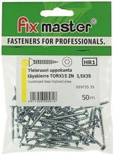 Fix Master yleisruuvi uppokanta täuskierre torx15 3,5X35 sinkitty 50kpl