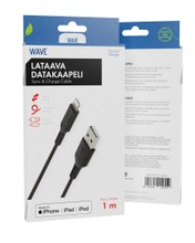 Wave Datakaapeli, Apple Lightning (Mfi), 1M, Musta