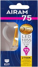 Airam Led 8,5W Vakiolamppu Filamentti E27 1055Lm 2700K