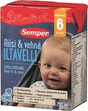 Semper 200Ml Iltavelli Riisi & Vehnä, Käyttövalmis Velli Alkaen 6Kk