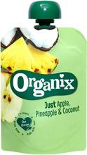 Organix Just Omena, Ananas & Kookos 100G  Alkaen 6 Kk, Luomuhedelmäsose