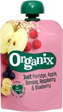 Organix Just Puuro, Omena, Banaani, Vadelma & Mustikka 100G  Alkaen 6 Kk, Luomuhedelmäsose