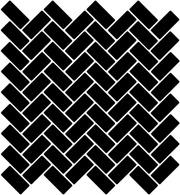 Herringbone Matt Black 2.2X4.7 Lasitettu Mosaiikki verkolla musta