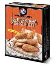 300g Kitchen Joy Southern Fried Chicken Fillets, Marinoitu, paneroitu ja paistettu kanan sisäfile, pakaste