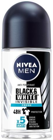 Nivea Men 50Ml Black & White Invisible Fresh Deo Roll-On -Antiperspirantti