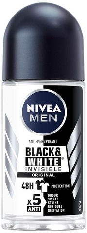 NIVEA MEN 50ml Black & White Invisible Original Deo Roll-on -antiperspirantti