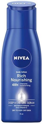 Nivea 75Ml Nourishing Milk Rich Body Lotion Vartaloemulsio Kuivalle Ja Erittäin Kuivalle Iholle