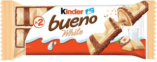 Kinder Bueno White 39G Valkosuklaalla Päällystetty Vohveli Maitoisalla Hasselpähkinätäytteell