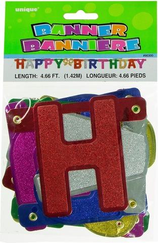 Unique Happy birthday kirjainnauha glitter 1,42m värikäs