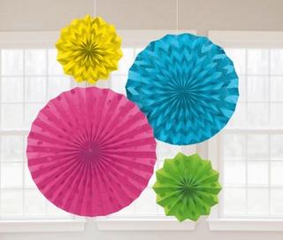 Paperiviuhka glitteri värikäs 4kpl