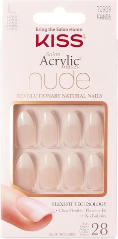 Kiss Nails Salon Acrylic Nude French 28 Pcs Nail Kit, Kan06