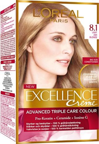 L'oréal Paris Excellence Creme 8.1 Light Ash Blonde Keskivaalea Tuhka Kestoväri 1Kpl