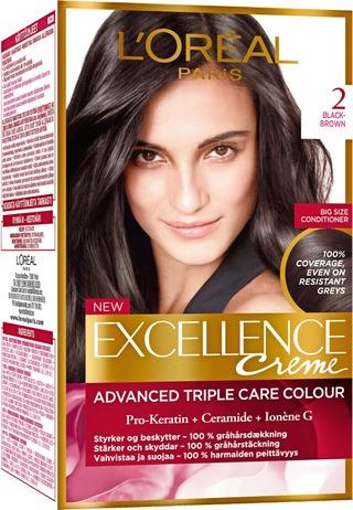 L'oréal Paris Excellence Creme 2 Black Brown Mustanruskea Kestoväri 1Kpl