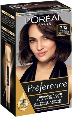 L'oréal Paris Préférence 3.12 Toronto Intense Cool Dark Brown Viileä Tummanruksa Kestoväri 1Kpl
