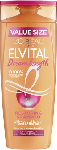 L'oréal Paris Elvital Dream Length Restoring Shampoo Pitkille, Vaurioituneille Hiuksille 400Ml