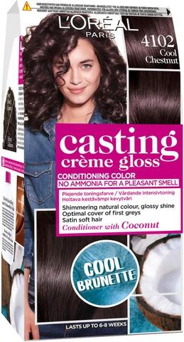 L'oréal Paris Casting Crème Gloss 4102 Keskiruskea Tuhka Neutraali Helmiäinen Kevytväri 1Kpl