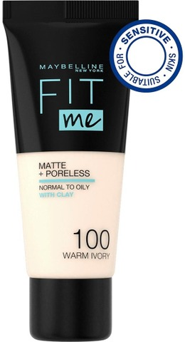 Maybelline New York Fit Me Matte+Poreless -Meikkivoide 100 Warm Ivory 30Ml