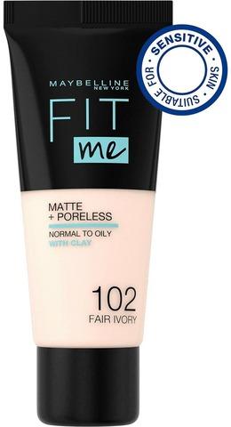 Maybelline New York Fit Me Matte+Poreless -Meikkivoide 102 Fair Ivory 30Ml