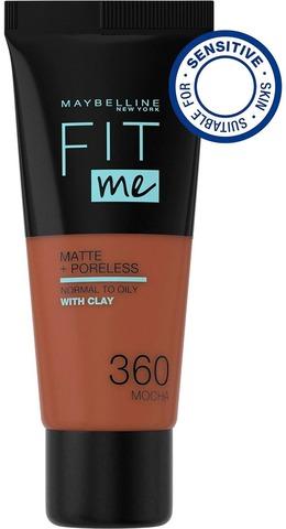 Maybelline New York Fit Me Matte+Poreless -Meikkivoide 360 Mocha 30Ml