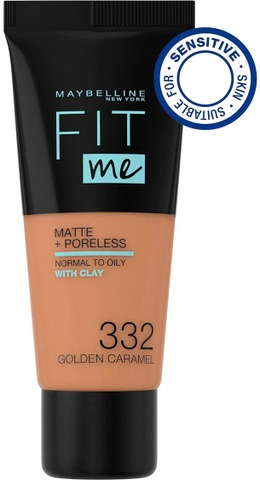 Maybelline New York Fit Me Matte+Poreless -Meikkivoide 332 Golden Caramel 30Ml