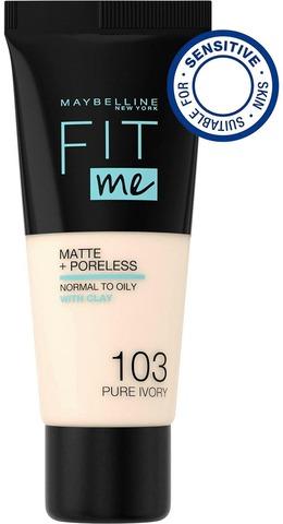 Maybelline New York  Fit Me Matte+Poreless 103 Pure Ivory -Meikkivoide 30Ml