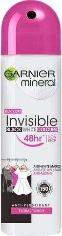 Garnier Mineral Deodorant 150ml Woman Invisible Black, White & Colors Spray 150ml