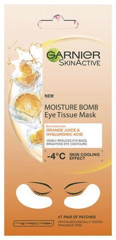 Garnier Skin Active Moisture Bomb Eye Tissue Mask Orange Juice silmänalusnaamio, silmäpusseista vähemmän näkyvät 6g