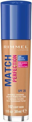 Rimmel 30Ml Match Perfection Foundation Spf 20 102 Light Nude Meikkivoide