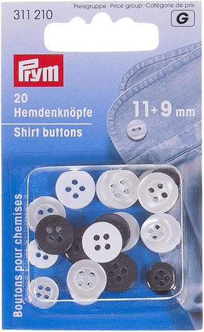 Prym 9mm ja 11mm paidannappi