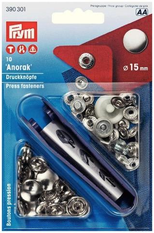 Prym Anorakki neppari 15mm hopea 10kpl