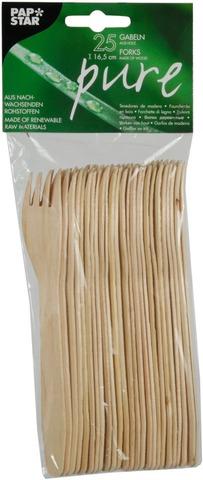 Papstar Pure puinen haarukka 16,5cm 25kpl