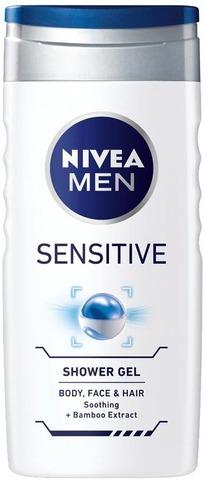 Nivea Men 250Ml Sensitive Shower Gel - Body, Face & Hair -Suihkugeeli